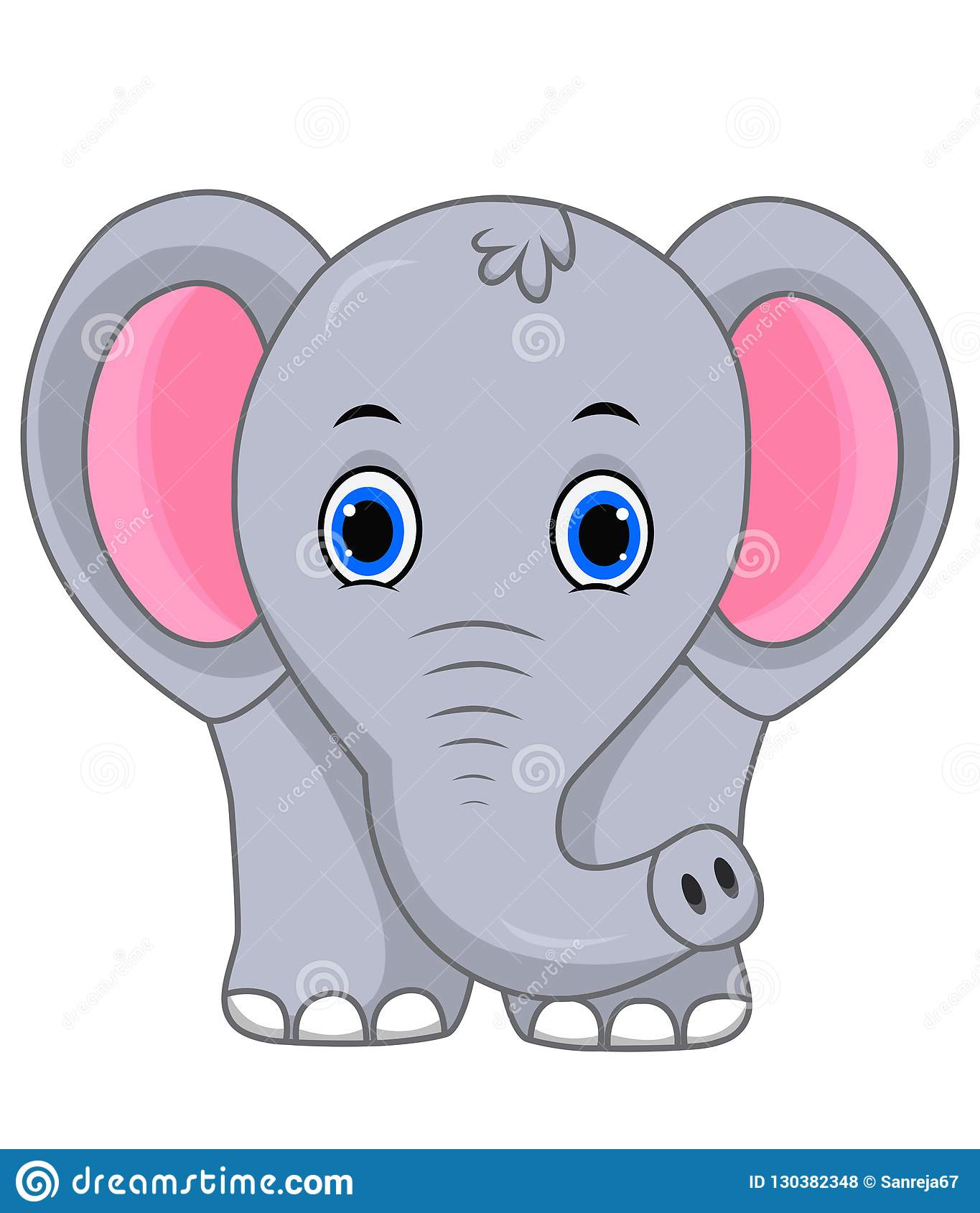 Cute Elephant Cartoon Stock Vector Illustration Of Forest 130382348