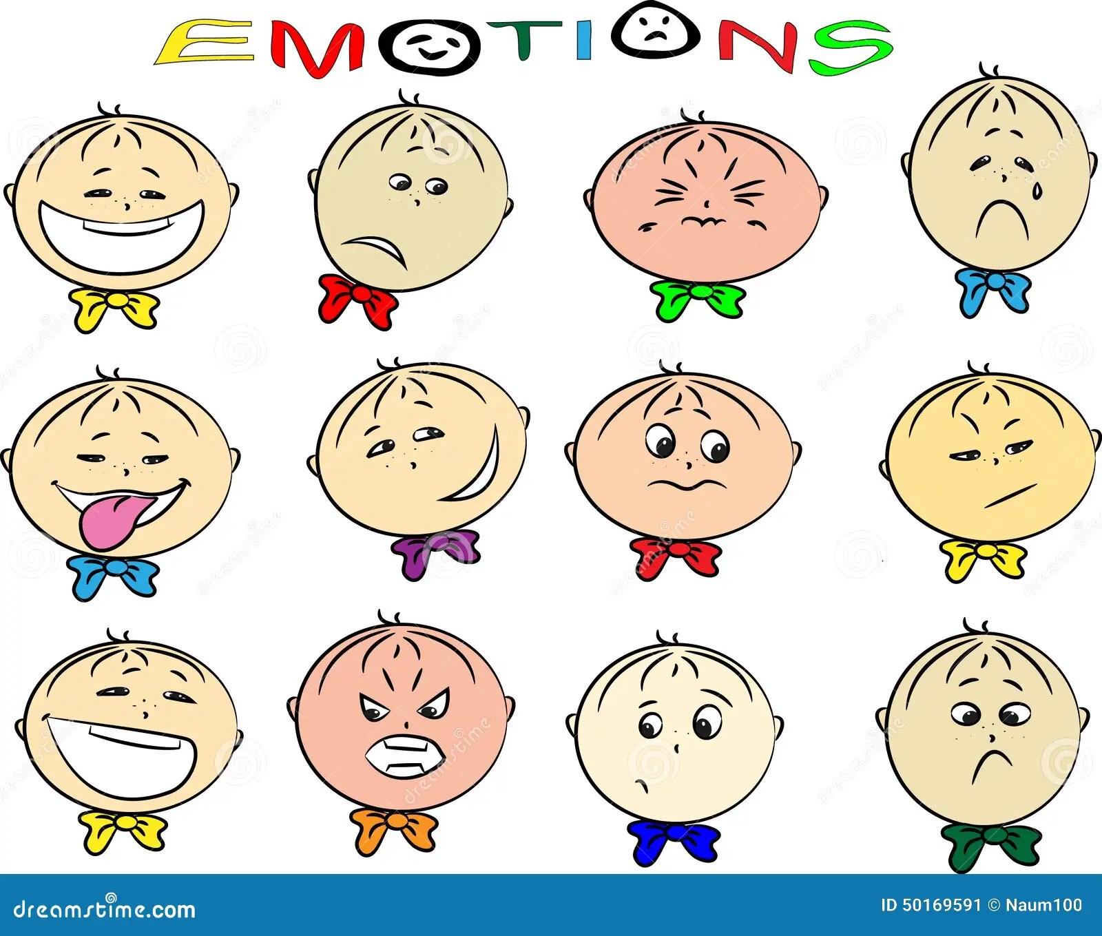 Illustration De Vecteur Des Emotions Des Enfants