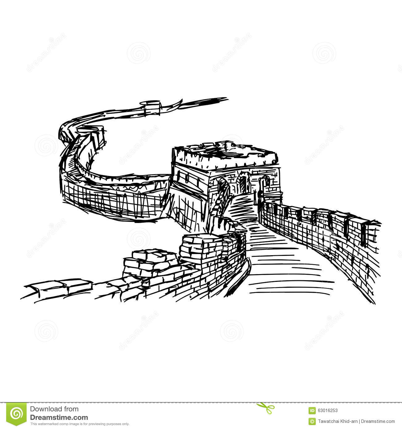 Illustration Doodle Hand Drawn Of Sketch The Great Wall I
