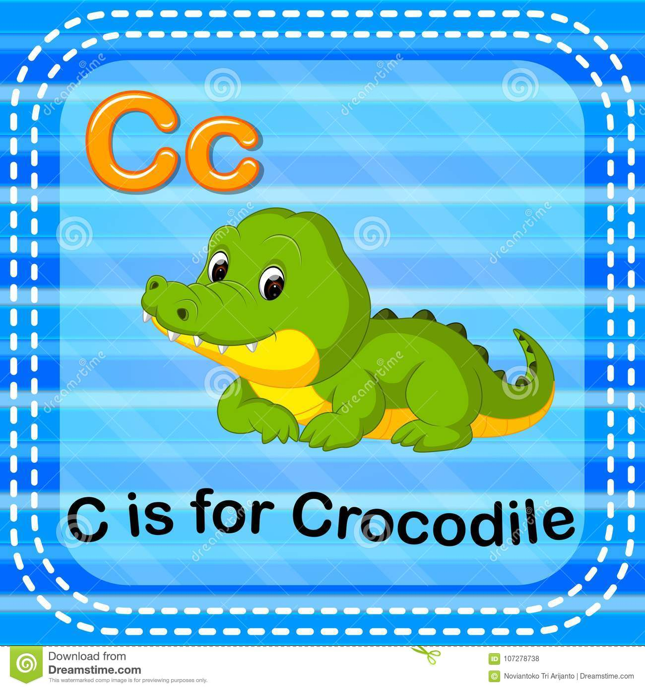 Flashcard Letter C Is For Crocodile Stock Vector