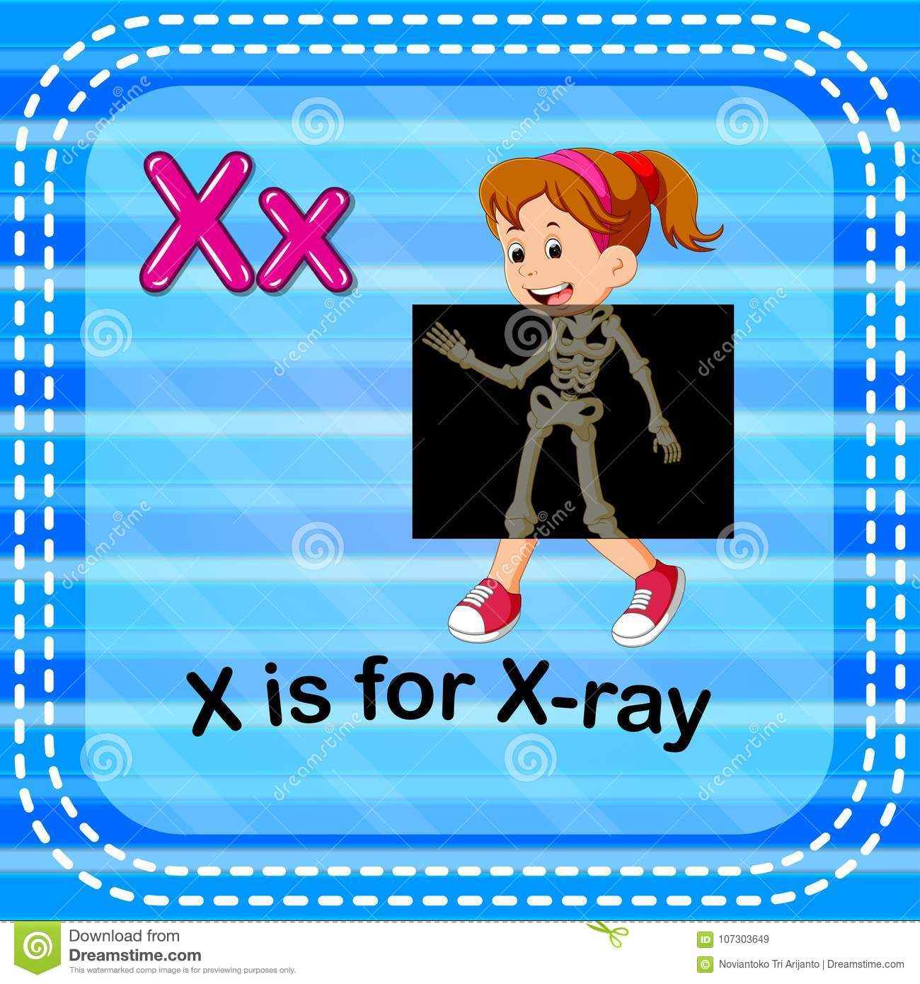 Flashcard Letter X Is For X Ray Stock Vector
