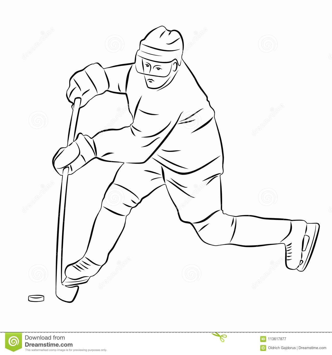 Silhouette Of A Ice Hockey Player Vector Drawing Stock