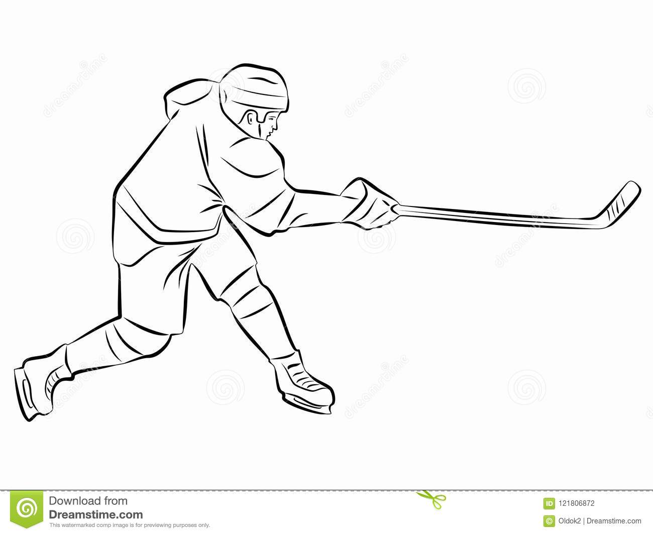 Illustration Ice Hockey Player Vector Draw Stock Vector