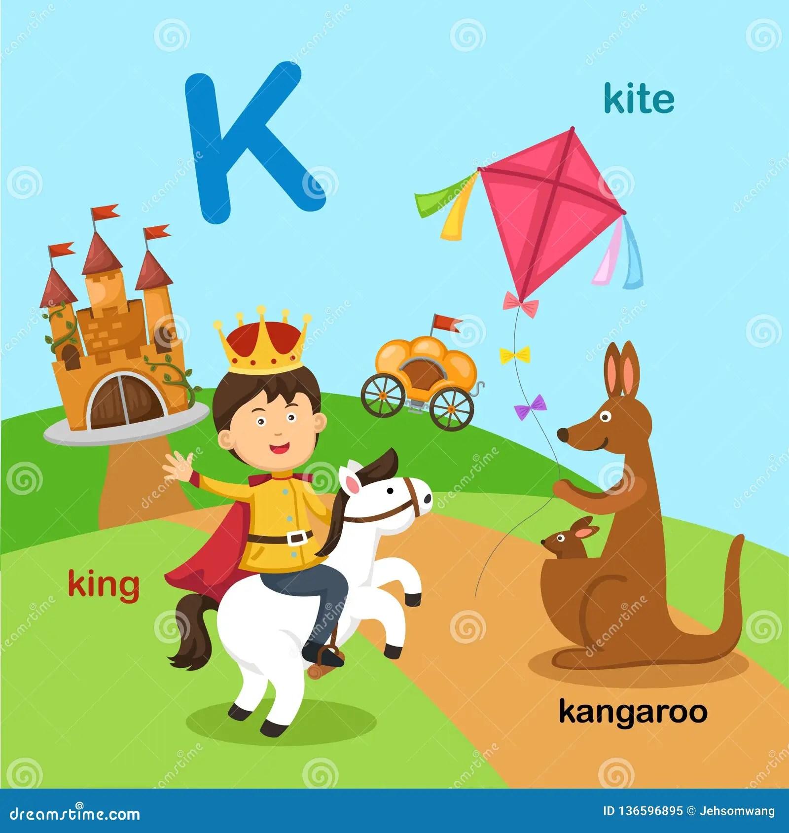Illustration Isolated Alphabet Letter K Kangaroo King Kite