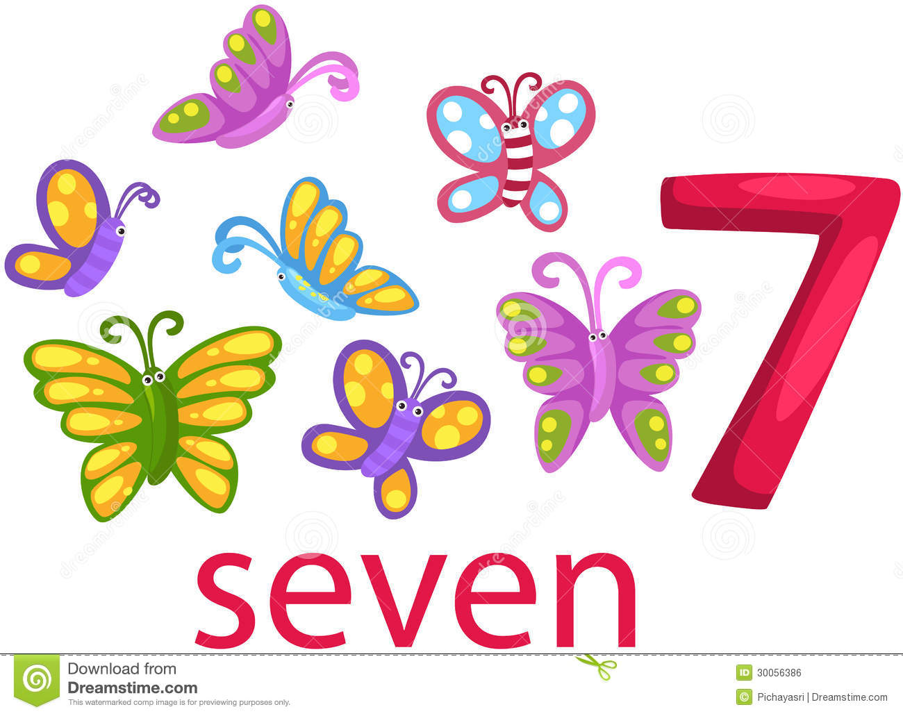 Number 7 Character With Butterflies Stock Vector