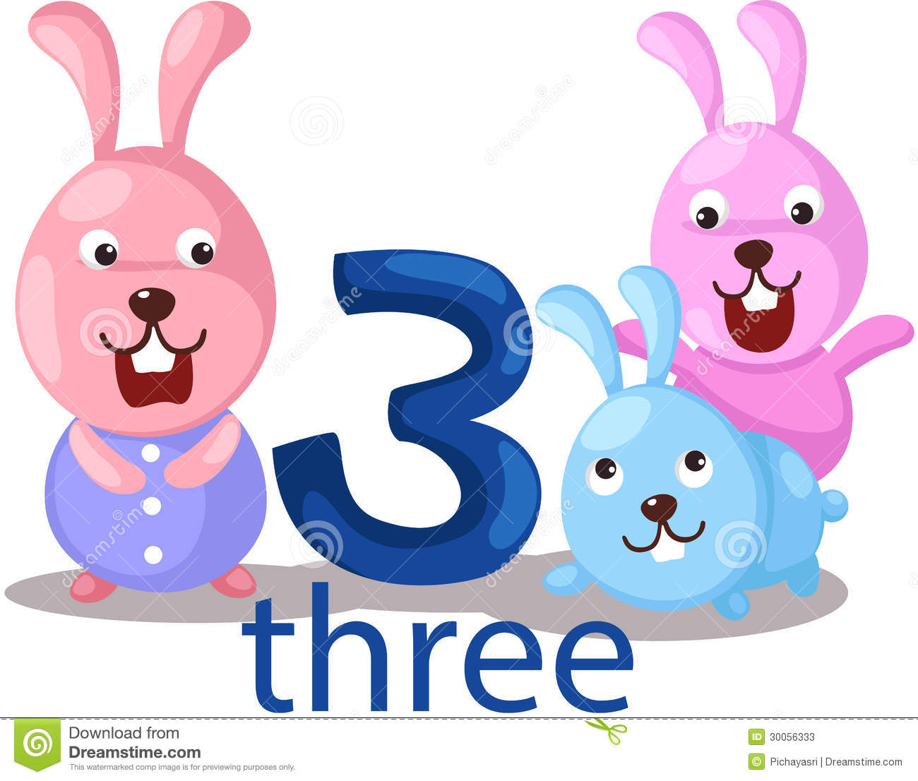 Number 3 Character With Rabbits Stock Photos