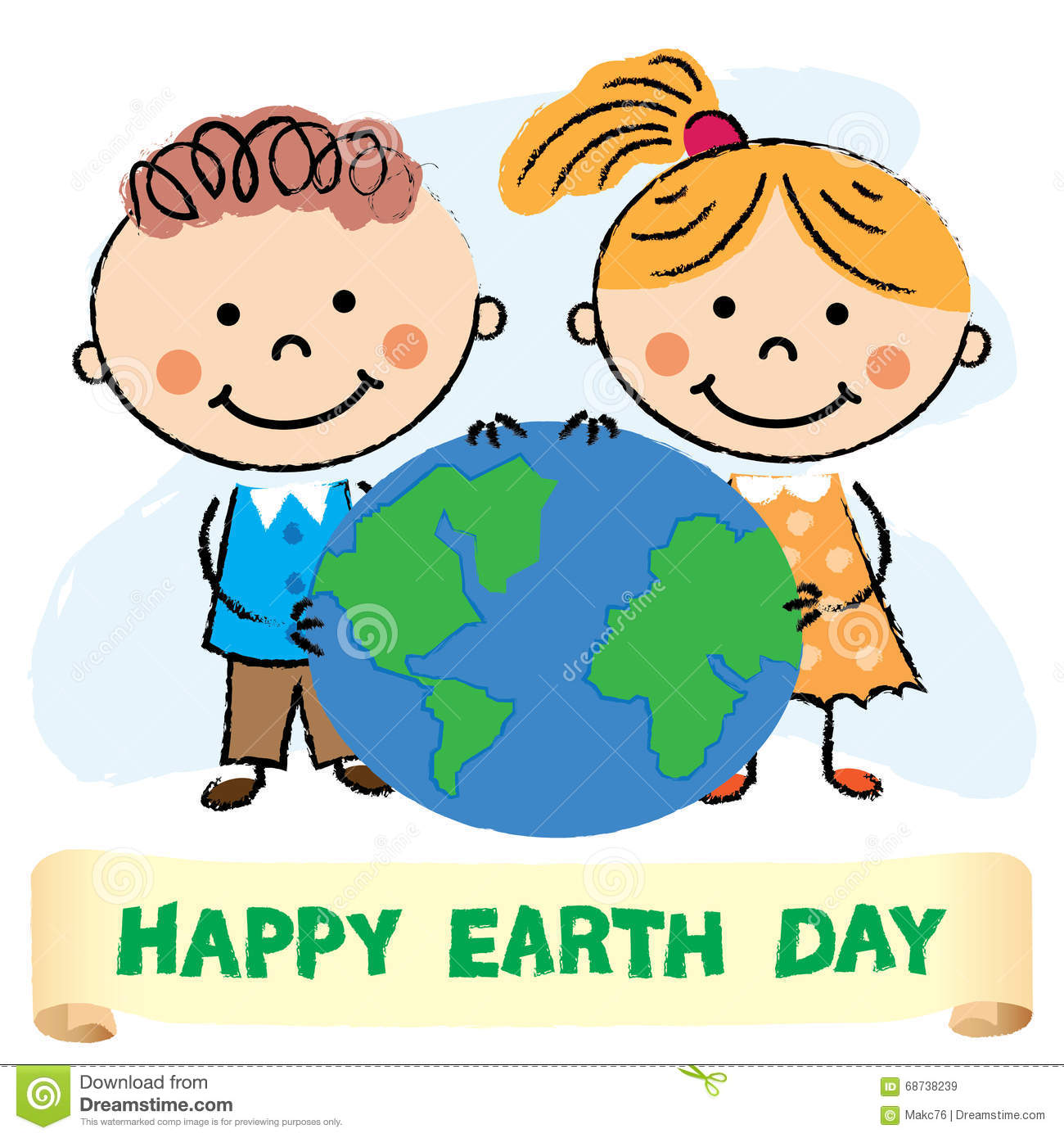 Illustration Of Kids With Earth Day Stock Vector