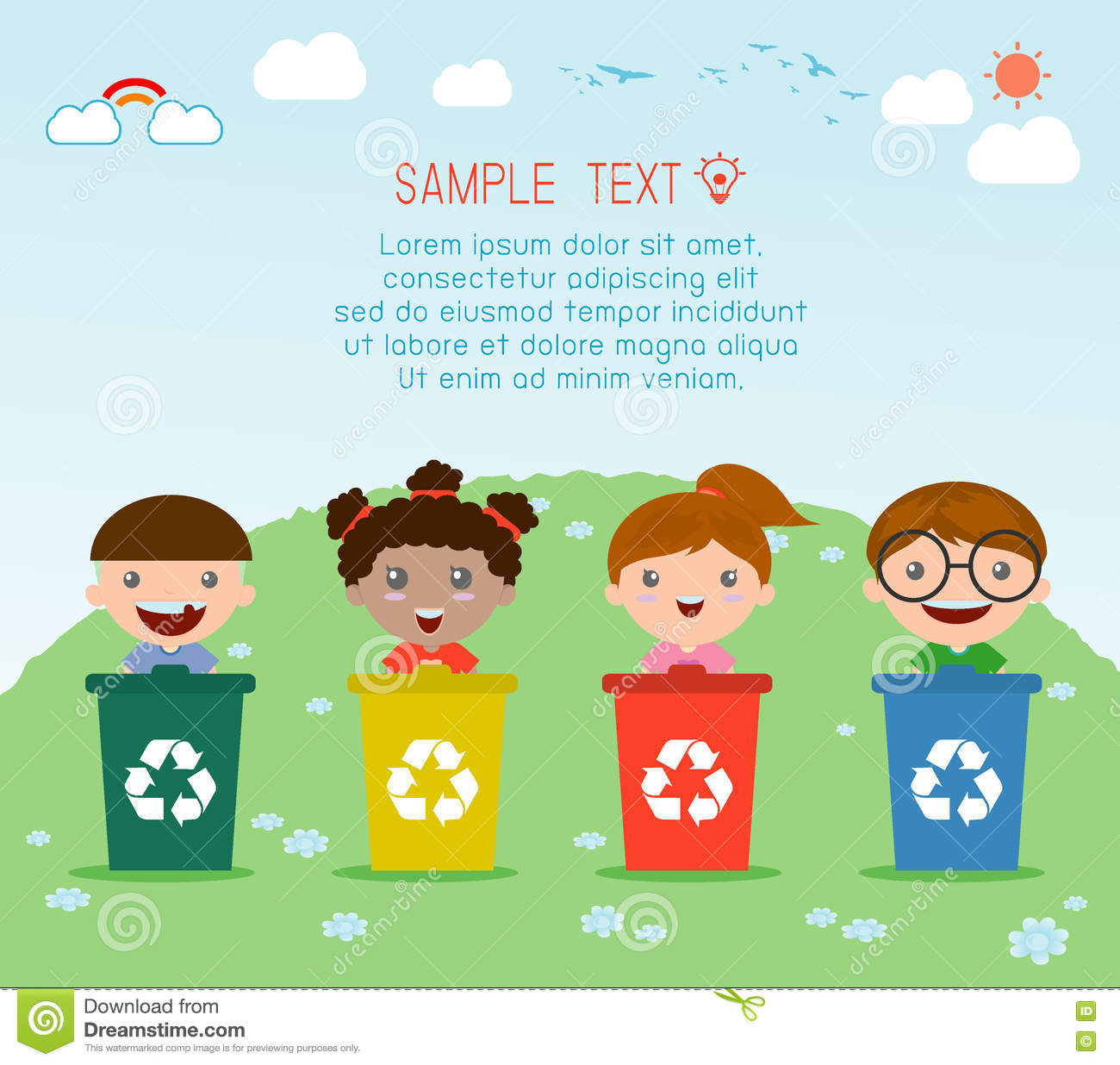 Illustration Of Kids Segregating Trash Recycling Trash Save The World Vector Illustration