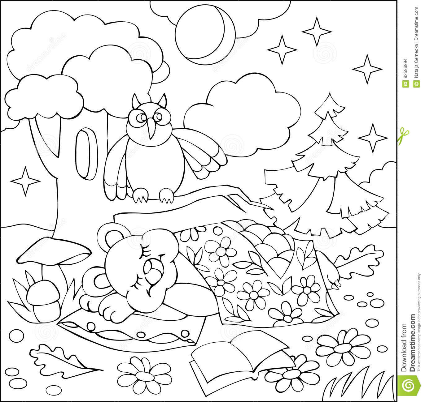 Illustration Of Little Sleeping Bear For Coloring Black