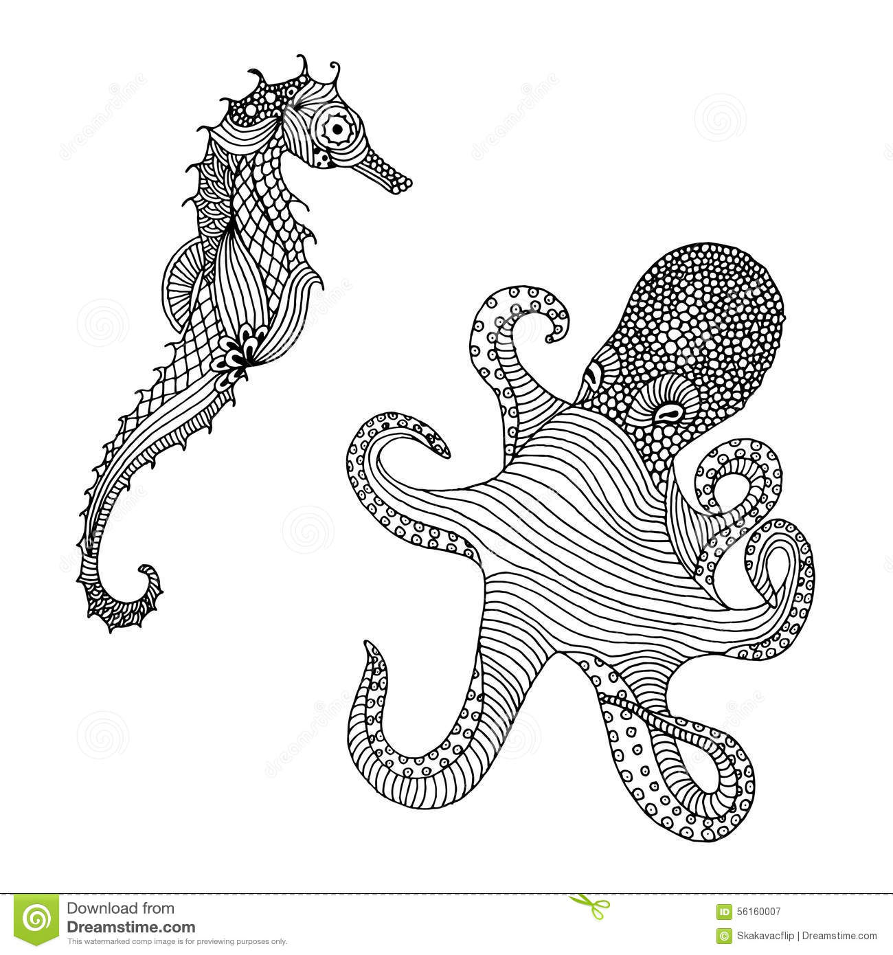 Illustration Of Octopus And Seahorse Stock Illustration
