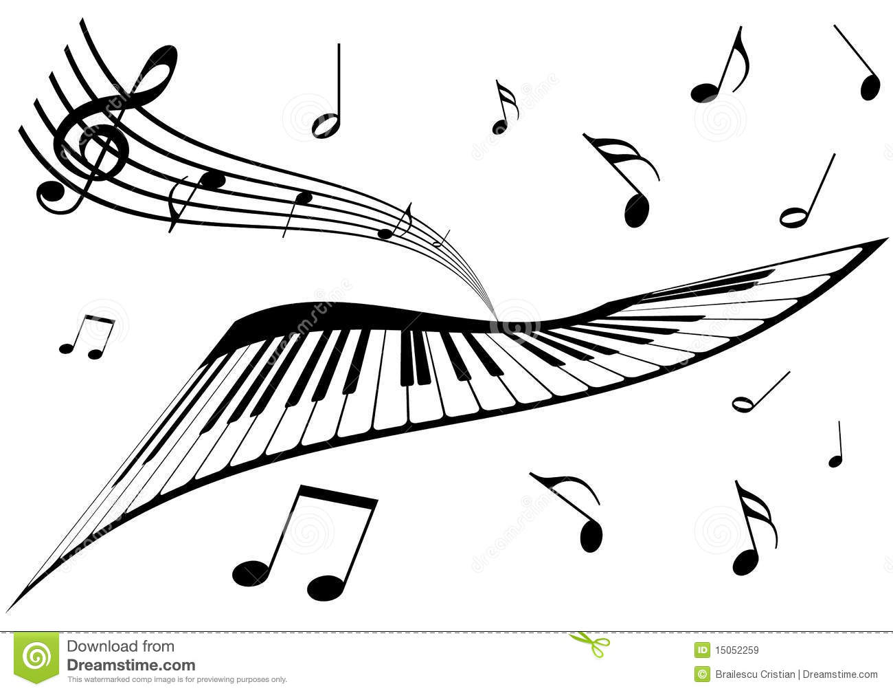 Illustration Of A Piano A Stave And Music Notes Stock
