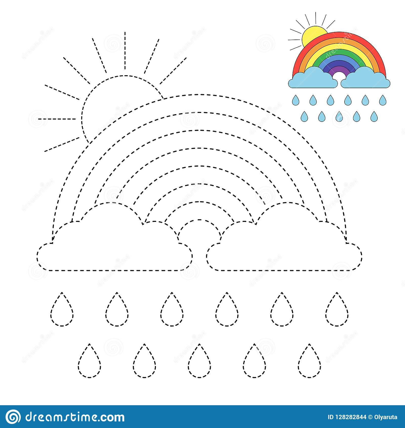 Illustration Of Rainbow Clouds Raindrops And Sun For