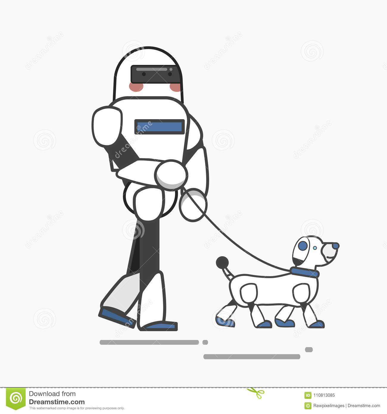 Illustration Of Robot Taking Robotic Dog For A Walk Stock