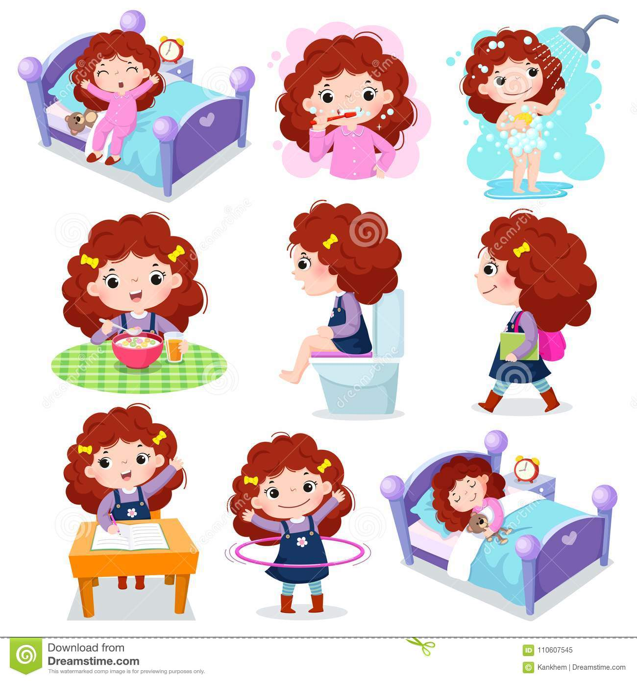 Daily Routine Activities For Kids With Cute Girl Stock