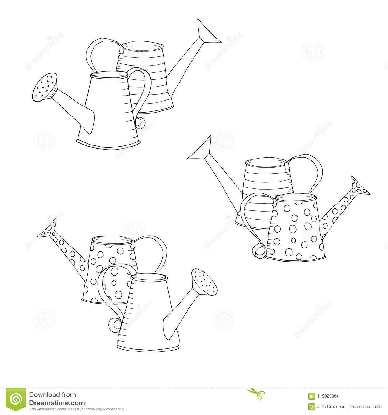 Black White Watering Can Stock Illustrations 432 Black