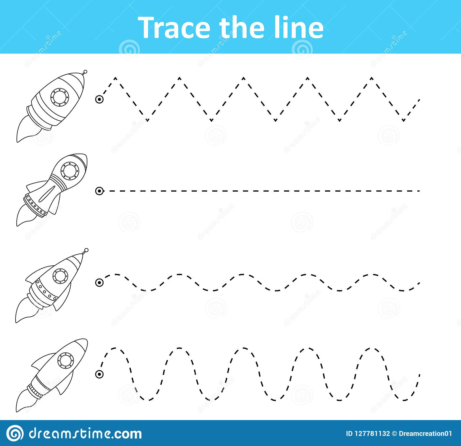 Trace Line Worksheet For Preschool Kids With Rockets Stock