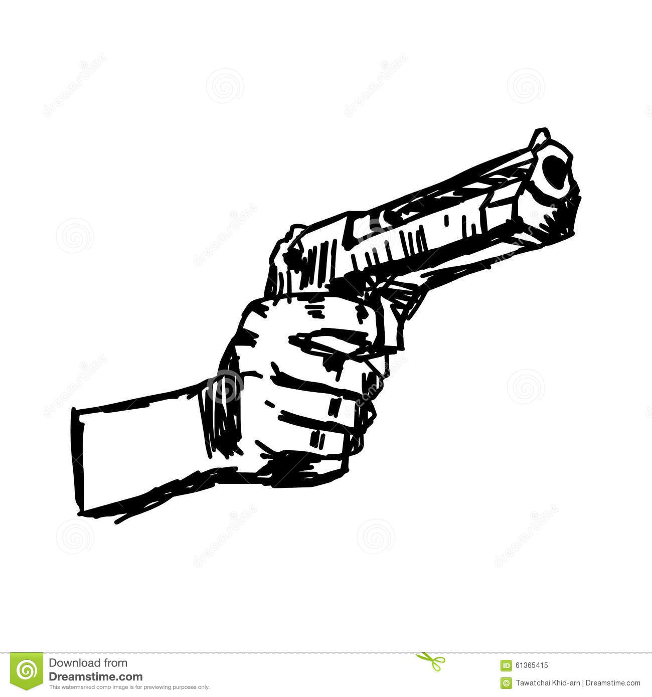 Illustration Vector Doodle Hand Drawn Of Hand Holding Gun