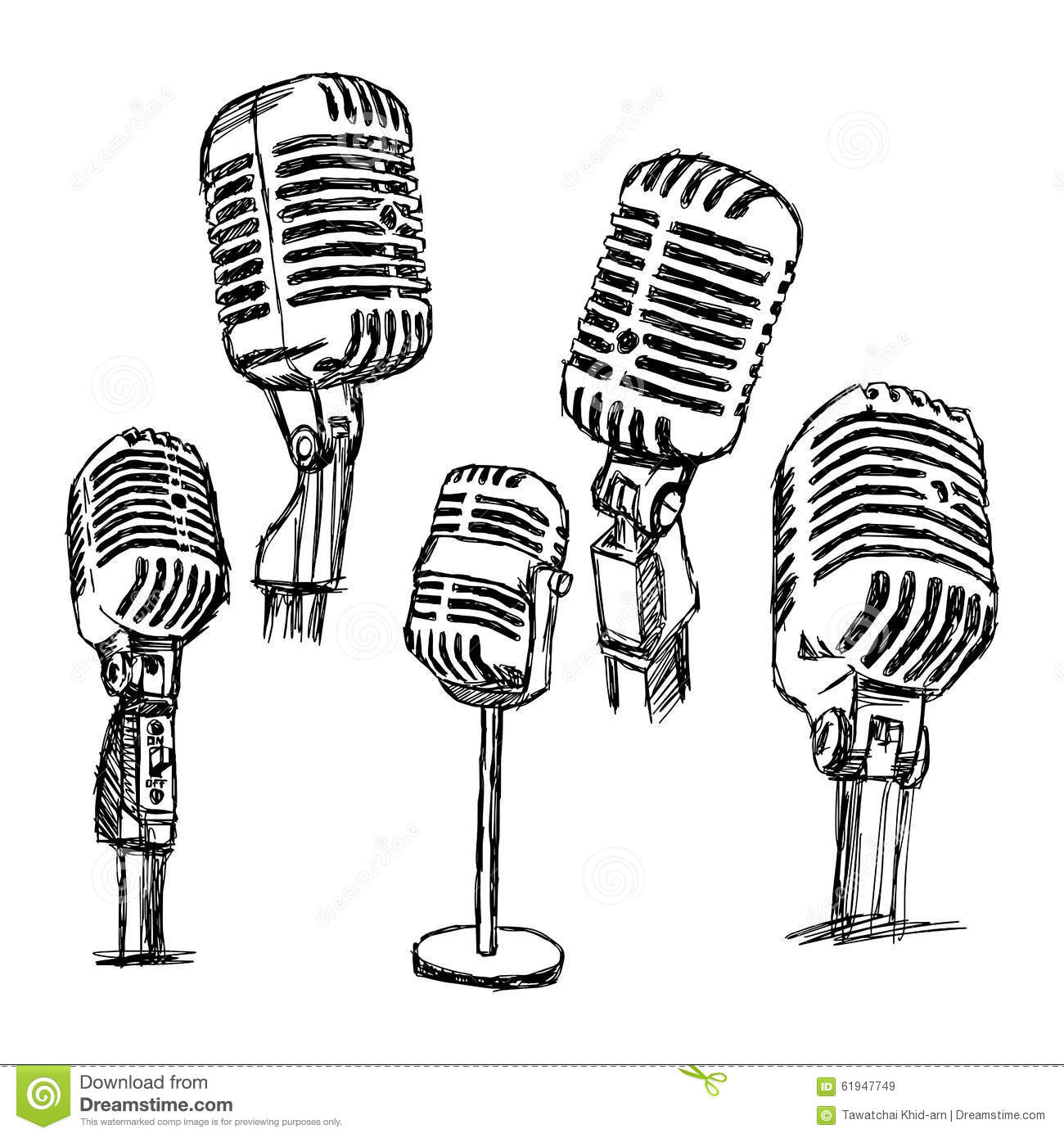 Illustration Vector Doodle Hand Drawn Retro Microphone Set