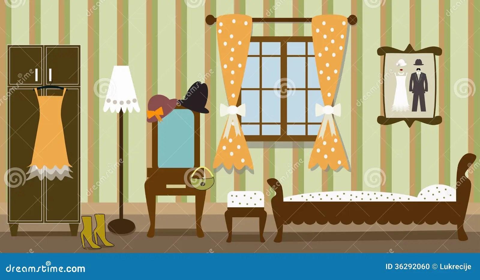Illustration Of Vintage Bedroom Stock Vector Image 36292060