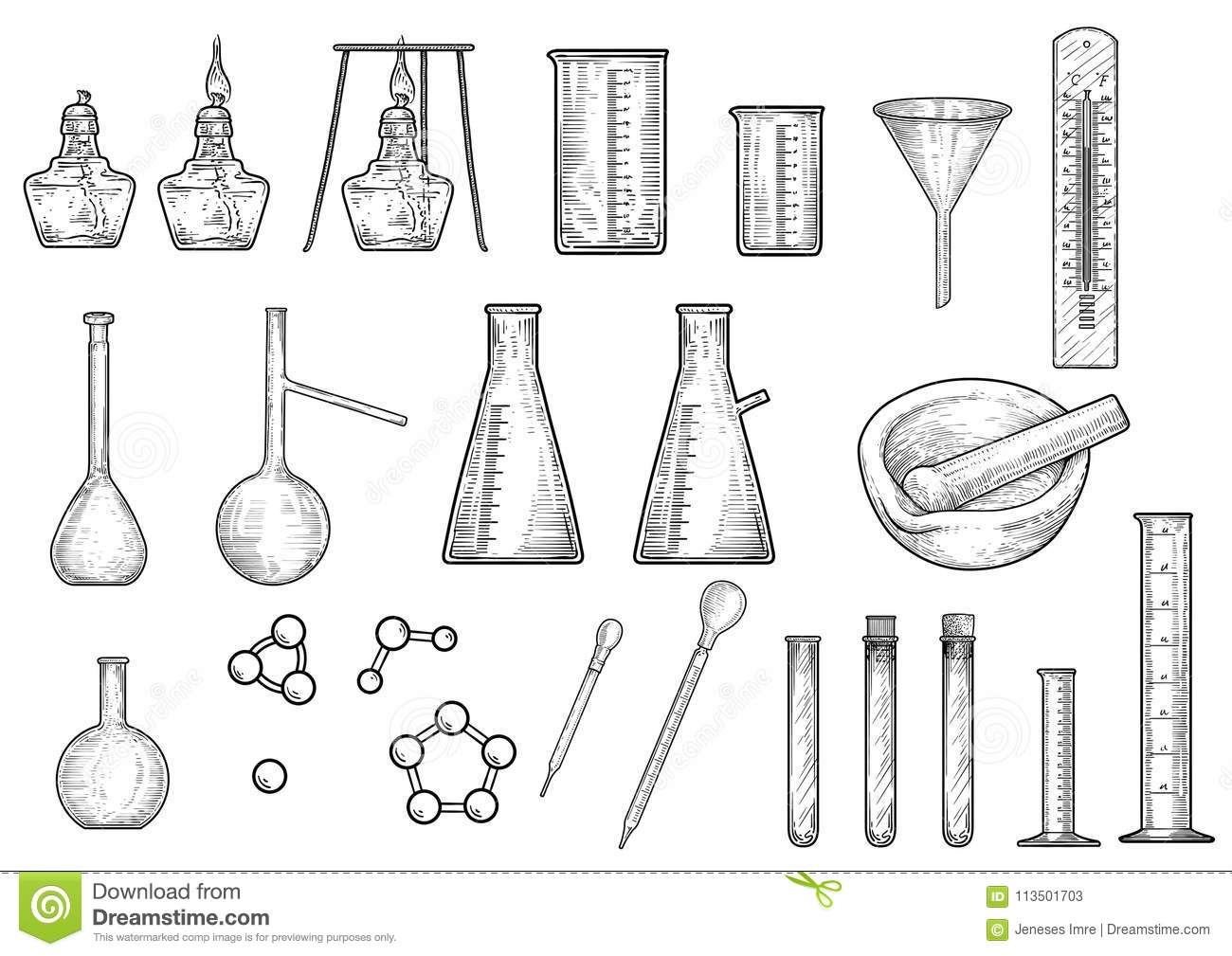 Chemistry Or Physics Equipments Collection Illustration