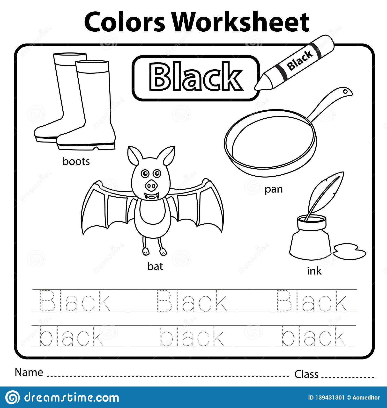 Illustrator Of Color Worksheet Black Stock Vector