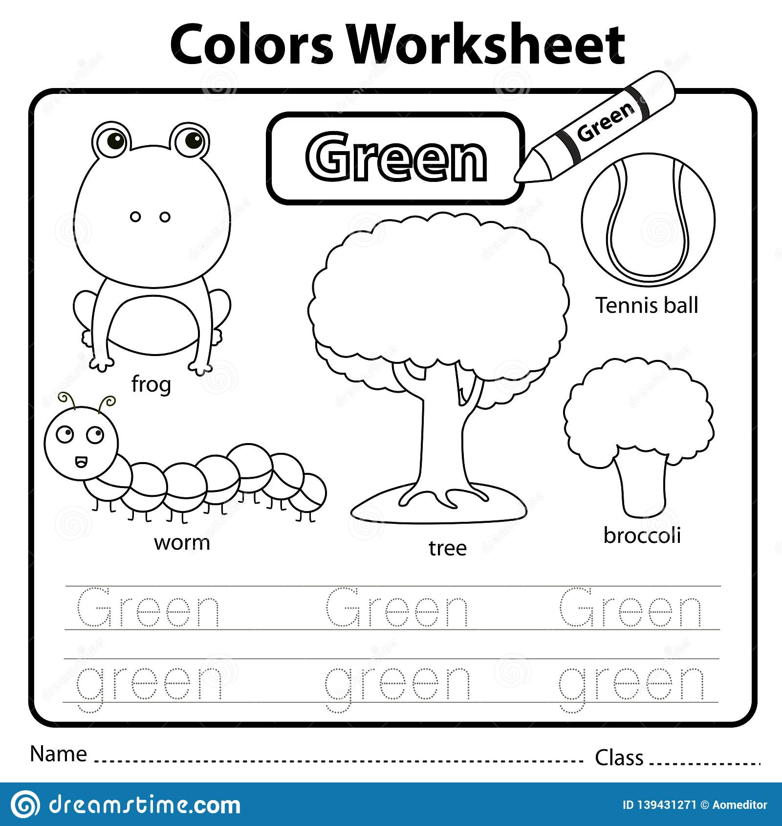 Illustrator Of Color Worksheet Green Stock Vector