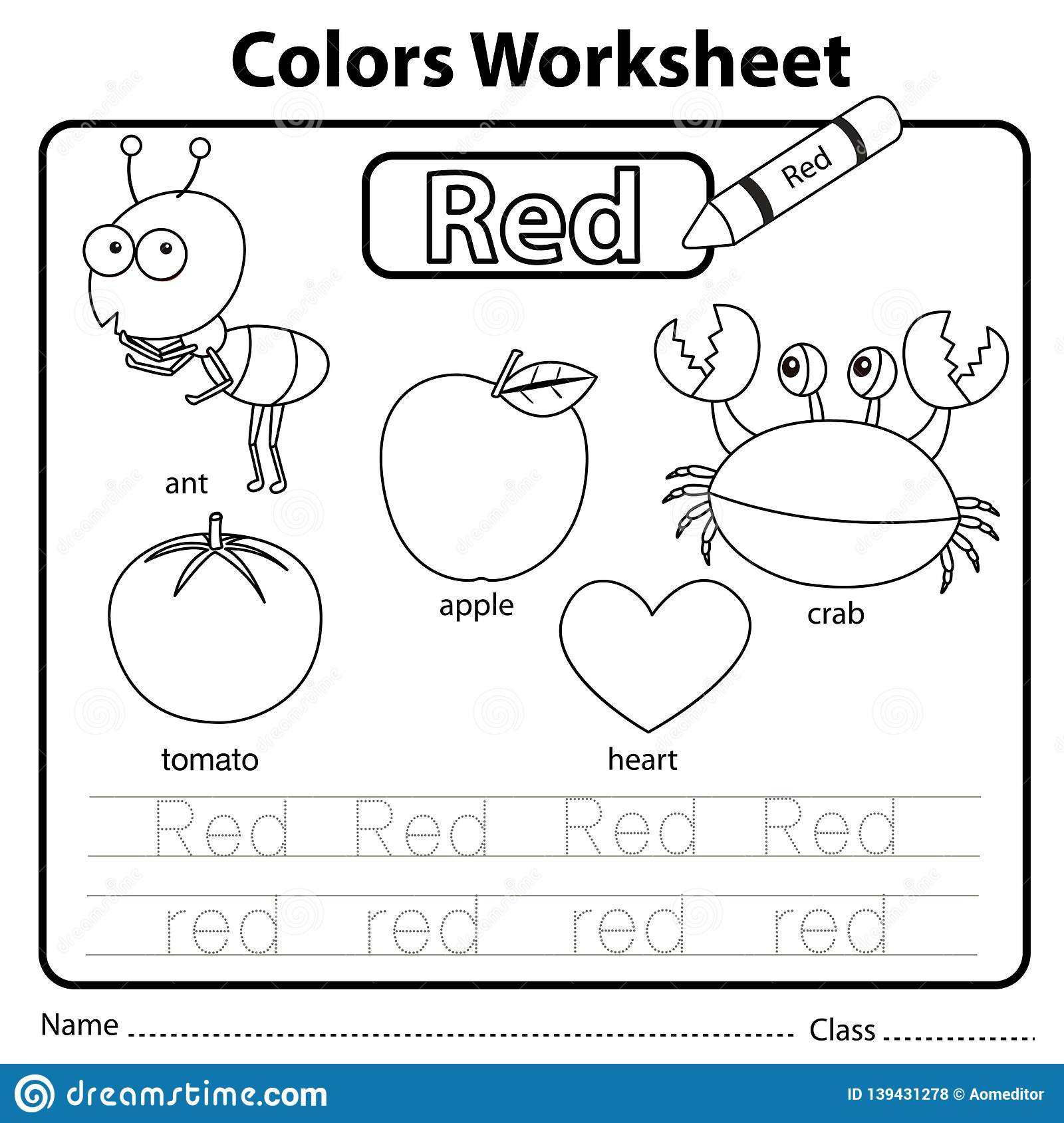 Something Red Color Worksheet