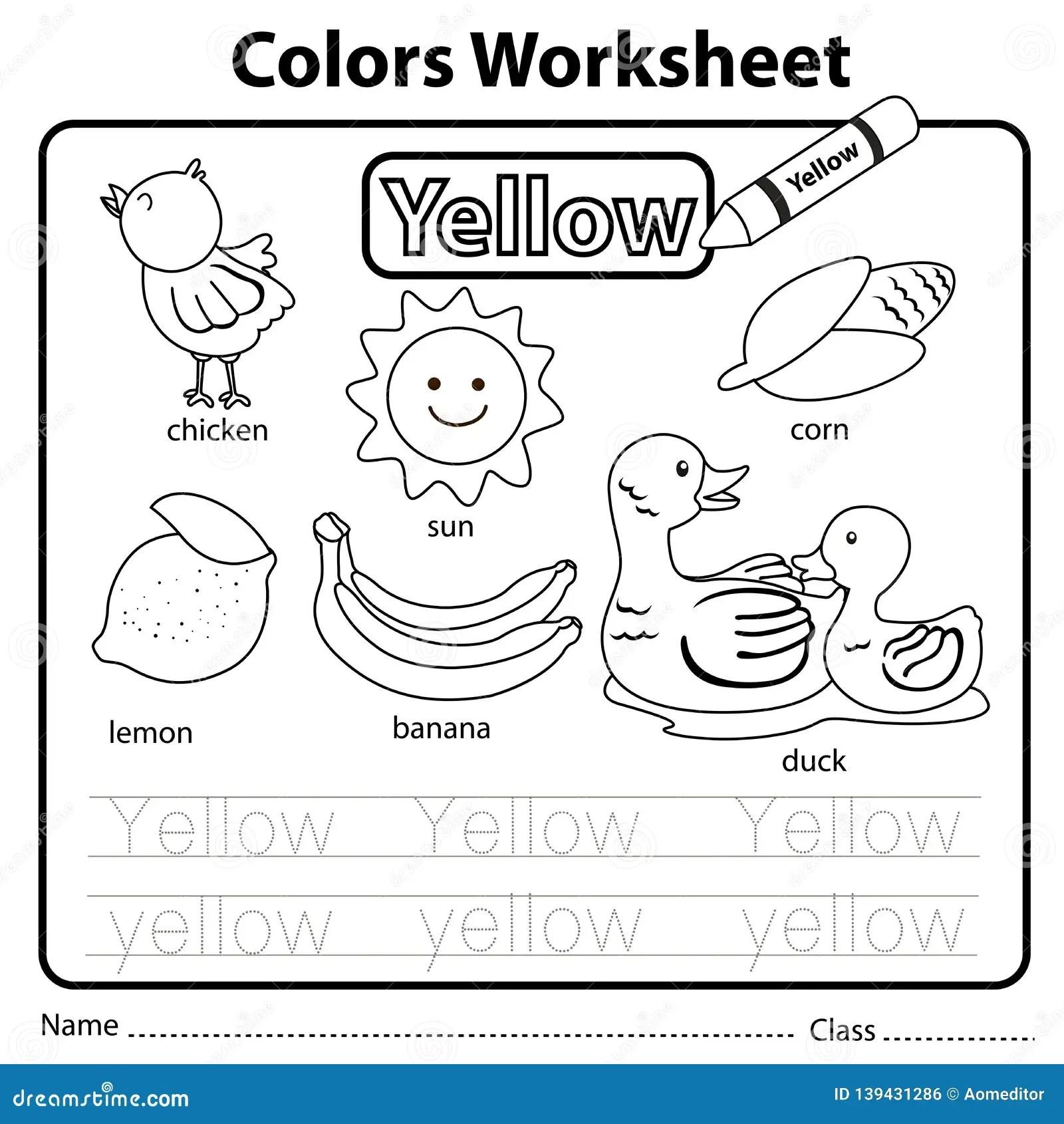 Illustrator Of Color Worksheet Yellow Stock Vector