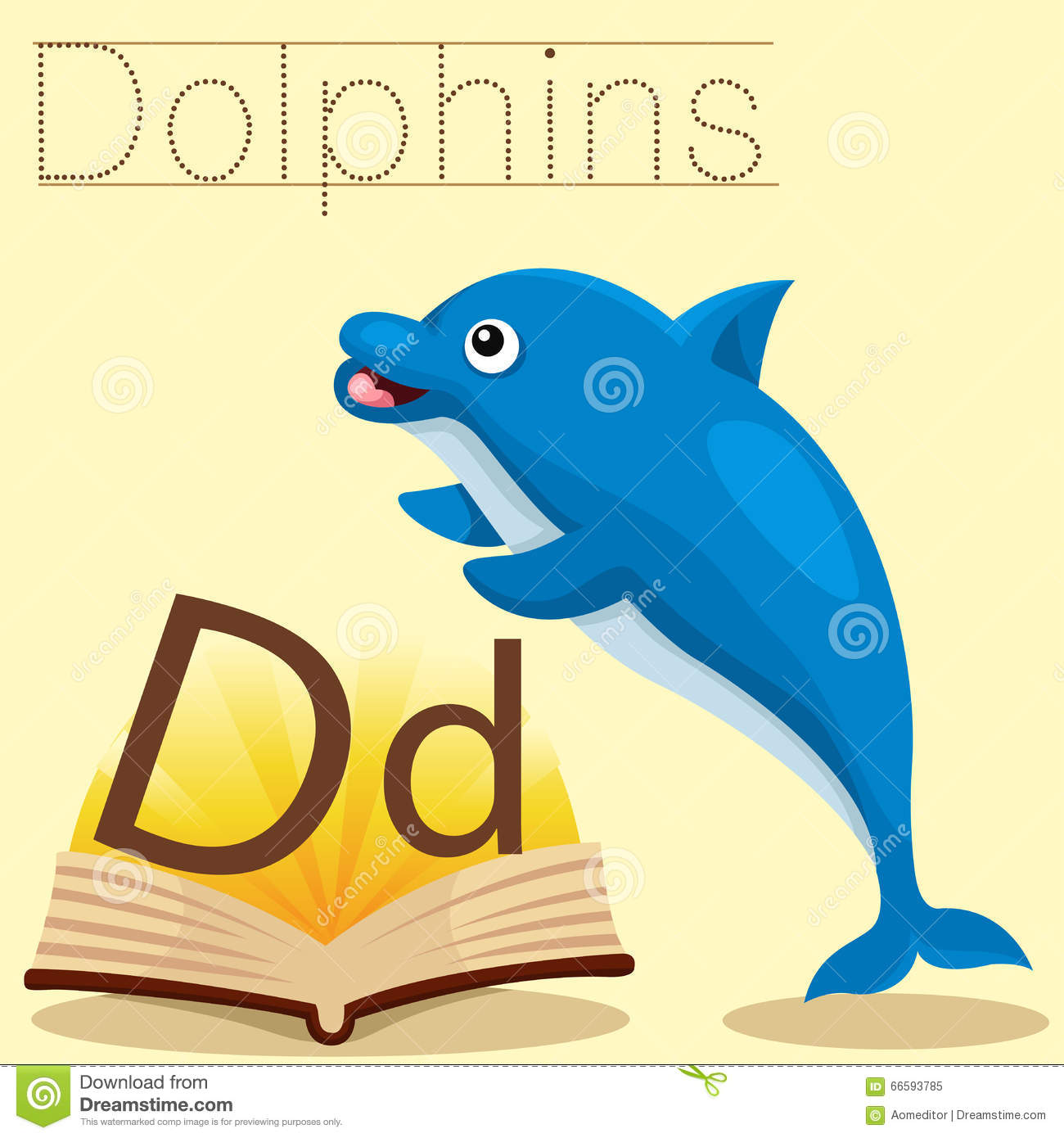 Illustrator Of D For Dolphins Vocabulary Stock Vector