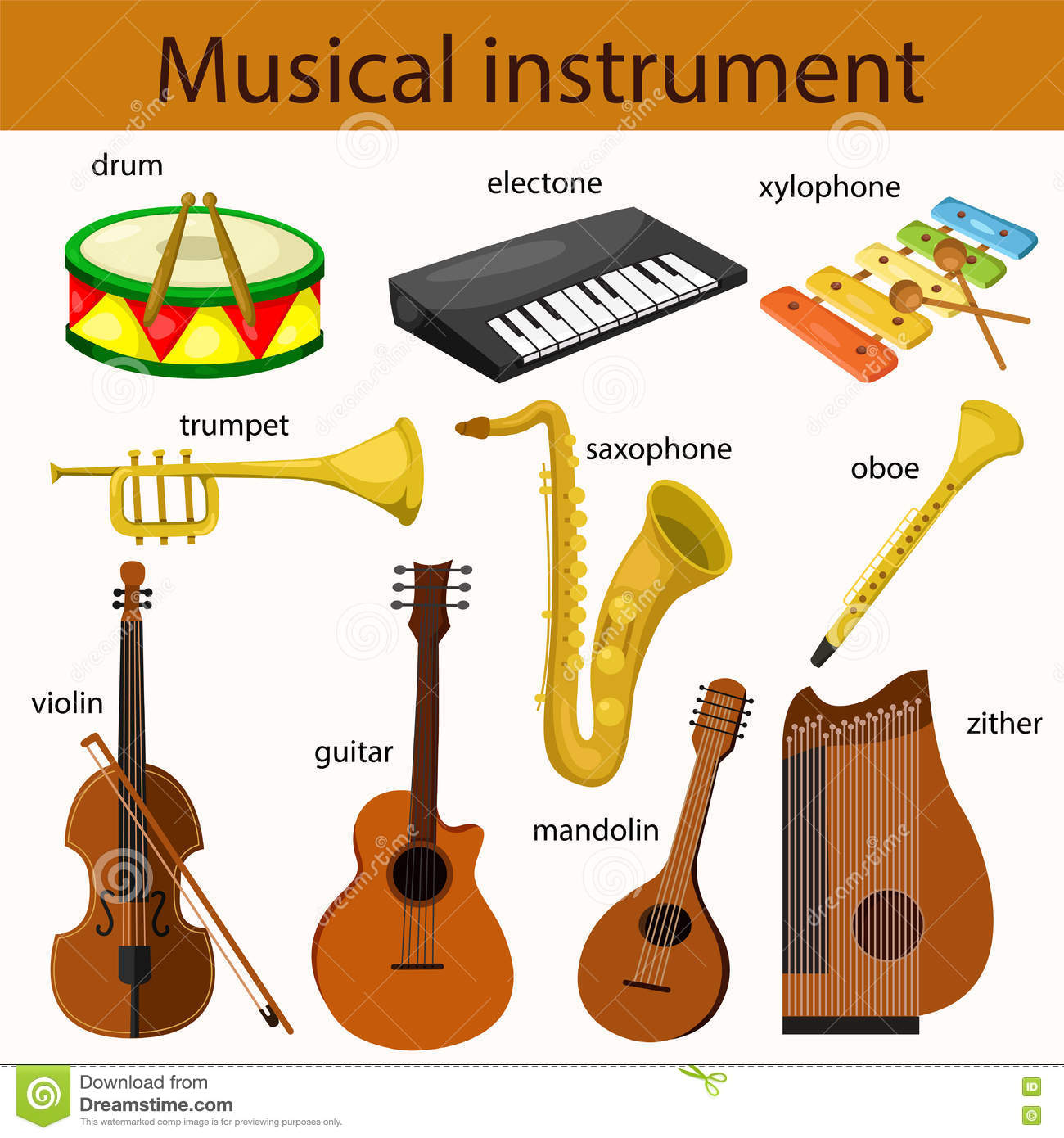 Illustrator Of Musical Instrument Stock Vector