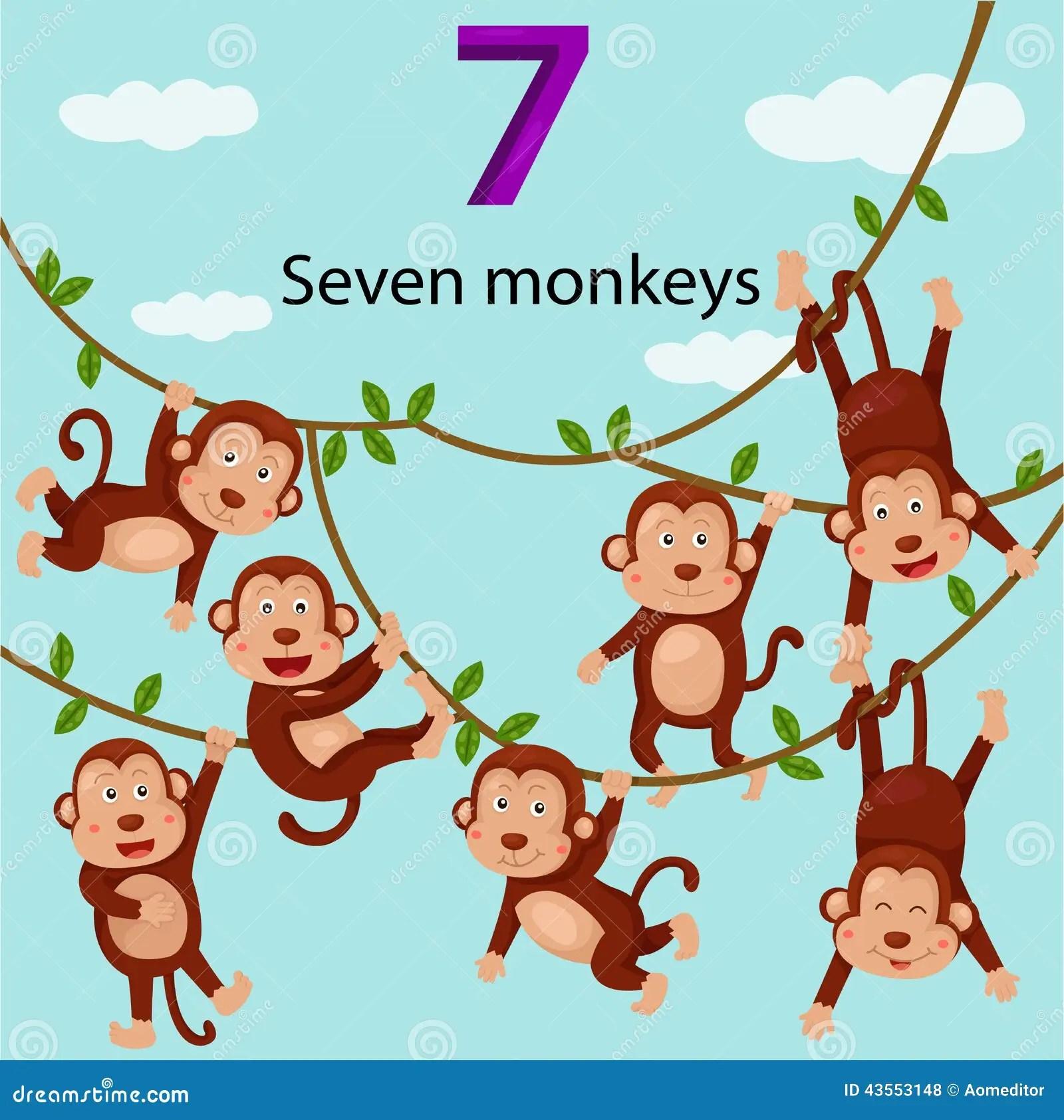 Illustrator Of Number Seven Monkeys Stock Vector