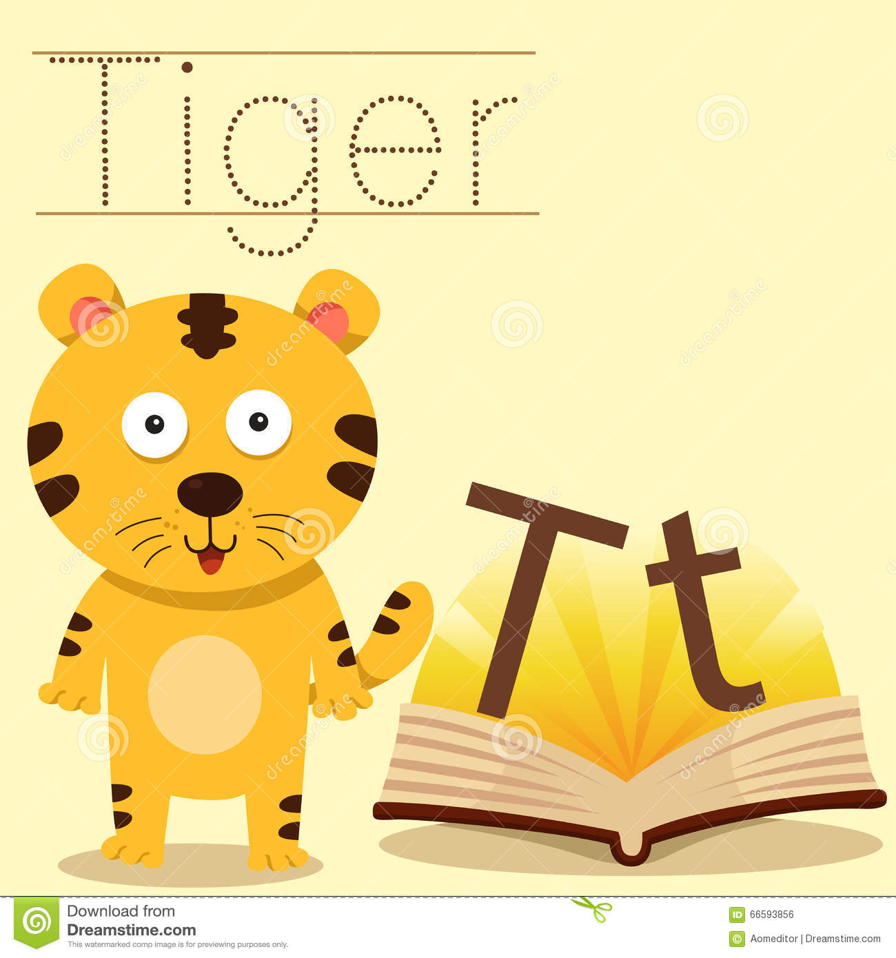 Illustrator Of T For Tiger Vocabulary Stock Vector