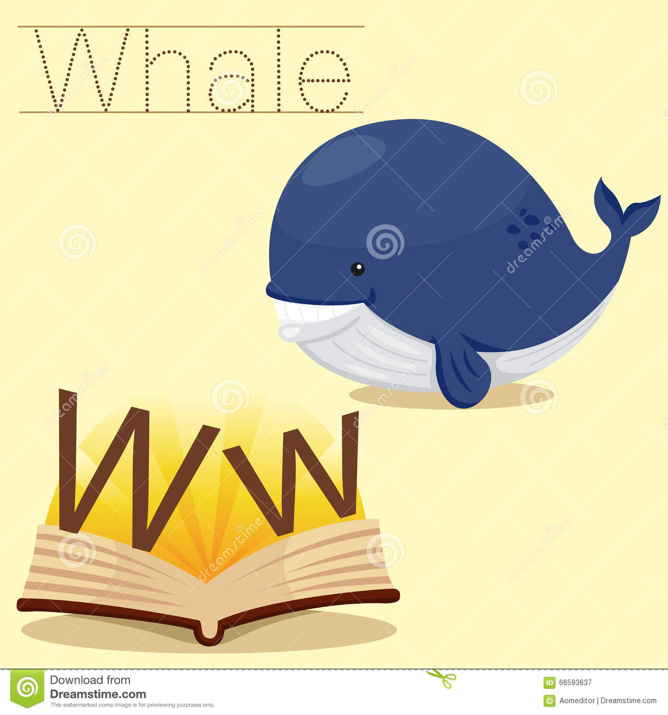 Illustrator Of W For Whale Vocabulary Stock Vector