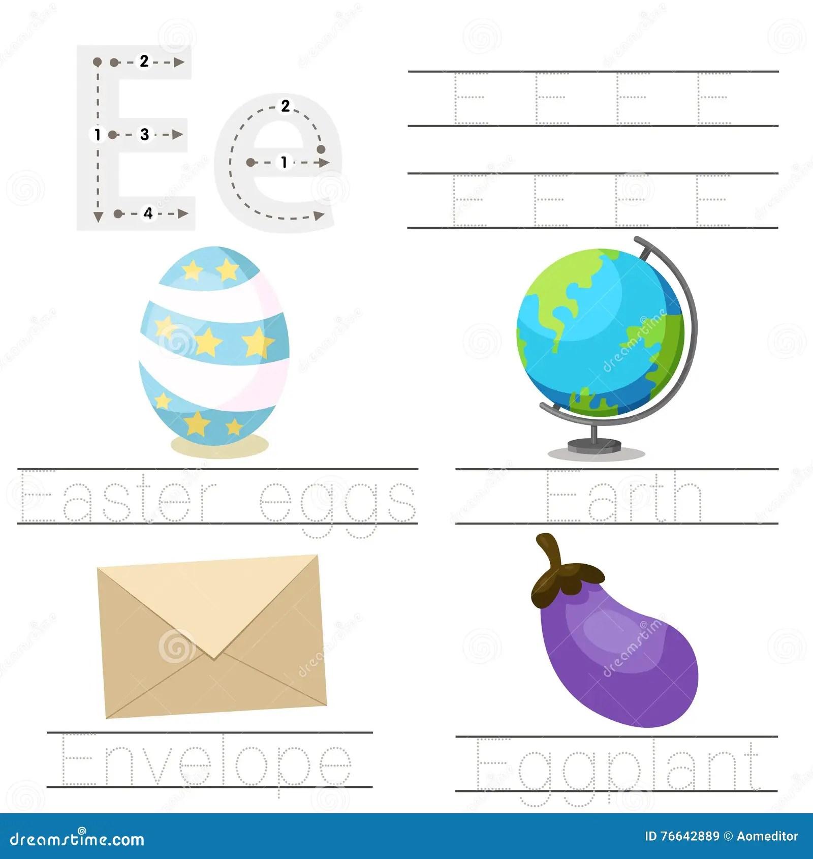 Illustrator Of Worksheet For Children E Font Stock Vector