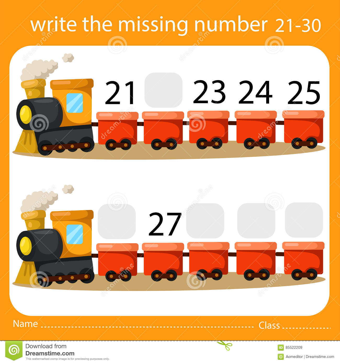 Illustrator Of Write The Missing Number 21 30 Stock Vector