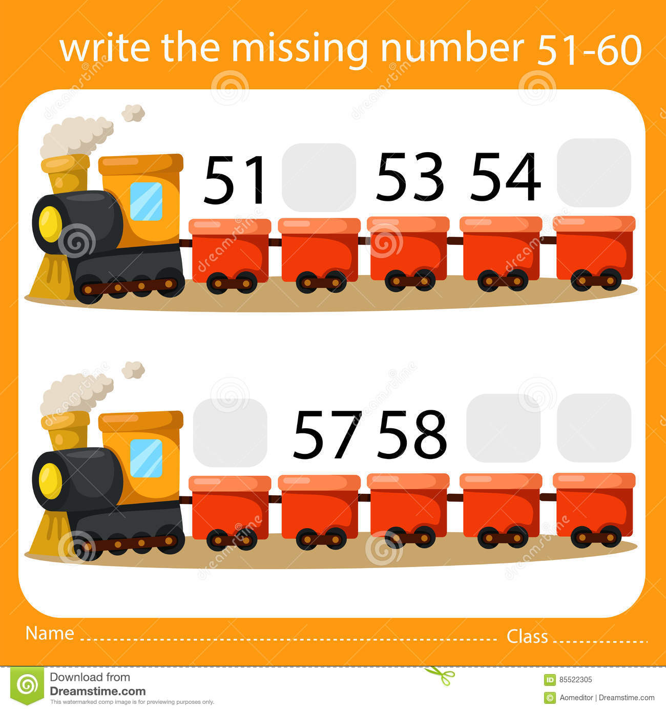 Illustrator Of Write The Missing Number 51 60 Stock Vector