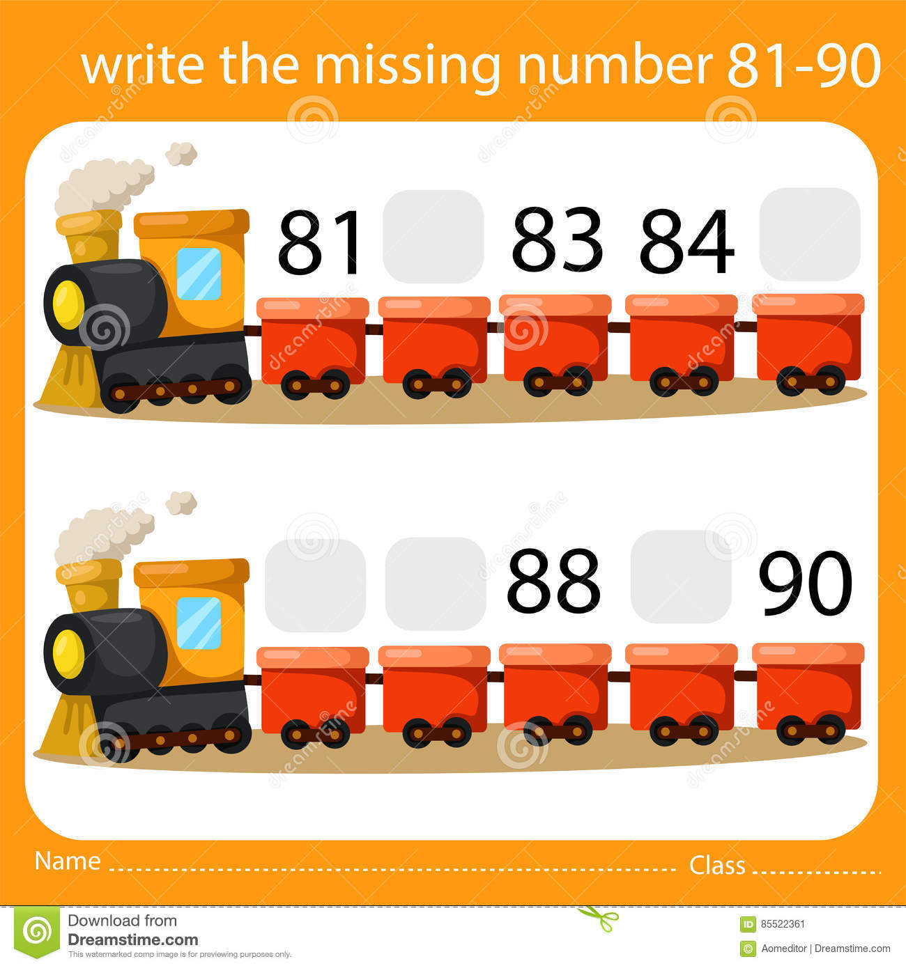 Illustrator Of Write The Missing Number 81 90 Stock Vector