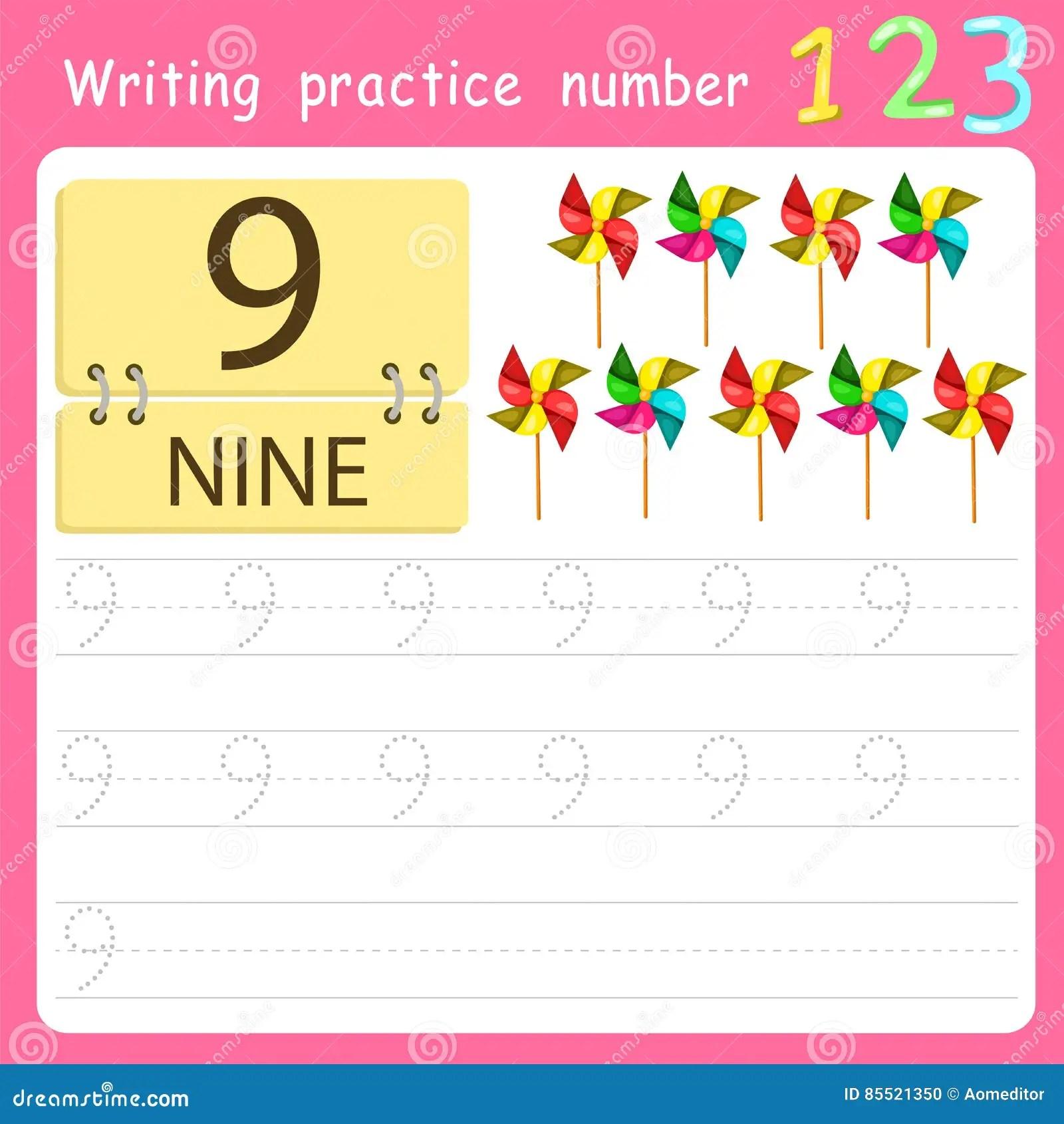Illustrator Write Practice Number 9 Stock Vector