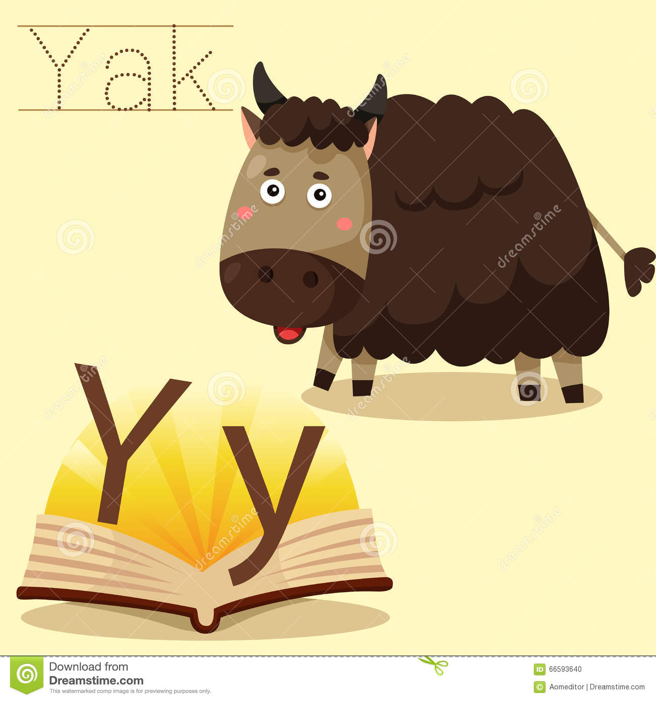 Illustrator Of Y For Yak Vocabulary Stock Vector