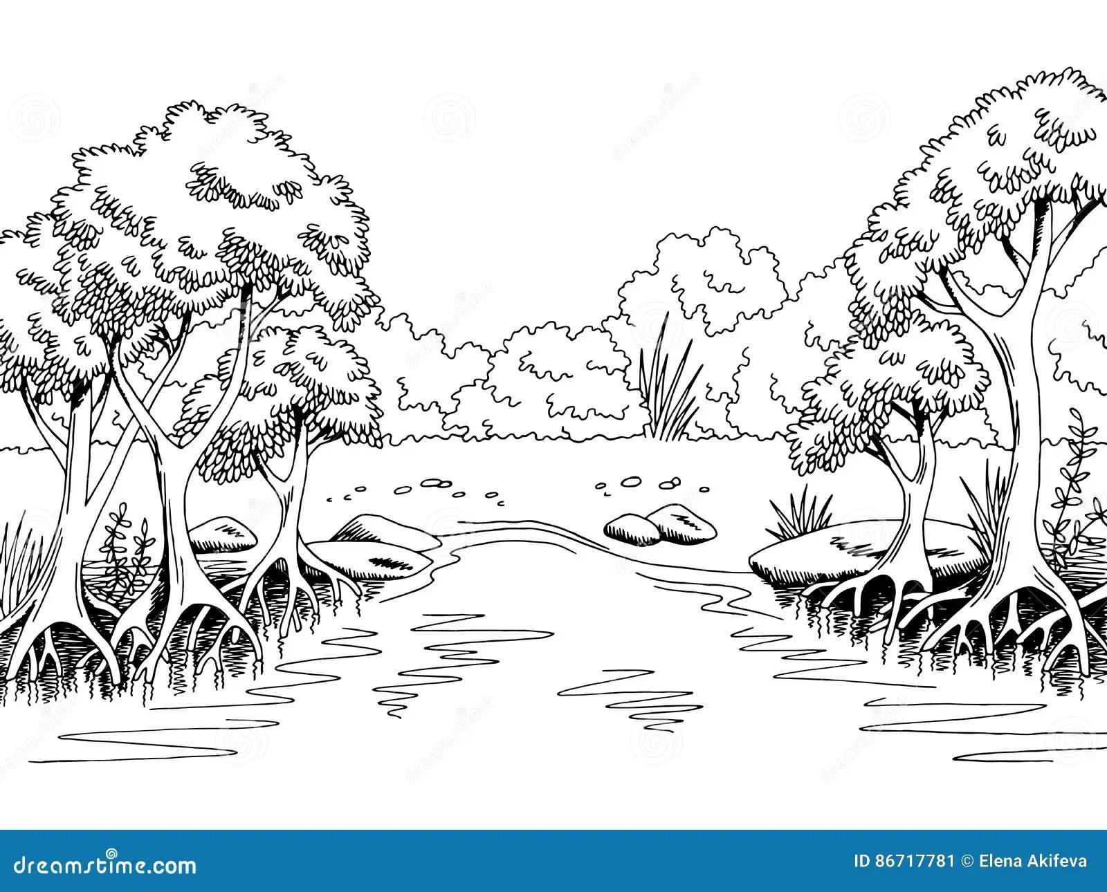 Illustrazione Bianca Nera Grafica Di Schizzo Del Paesaggio