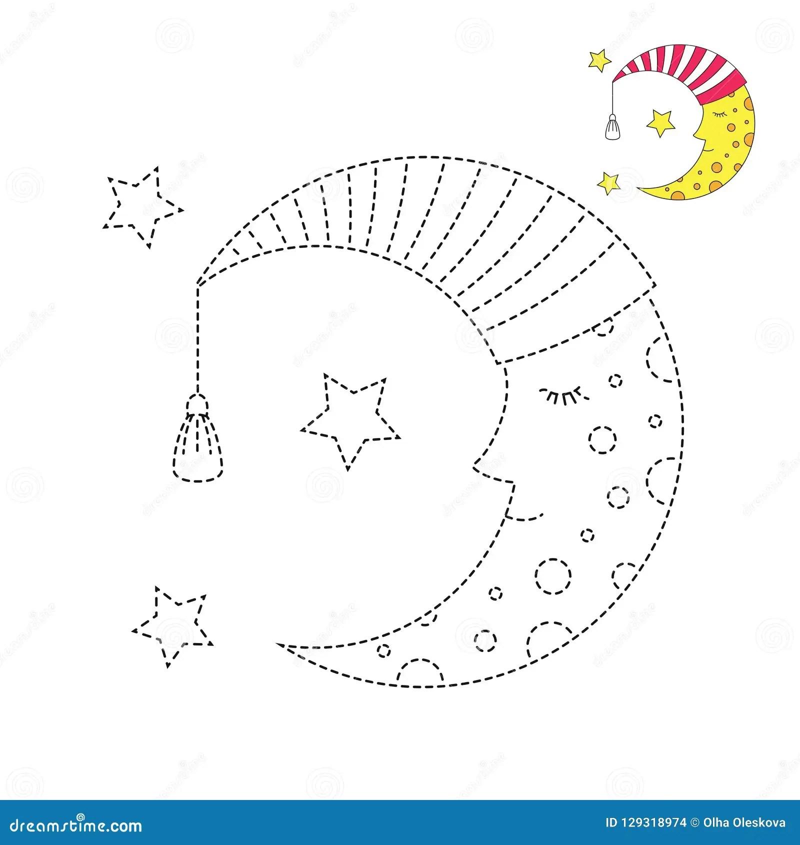Illustrazione Della Luna Di Sonno In Berretto Da Notte E