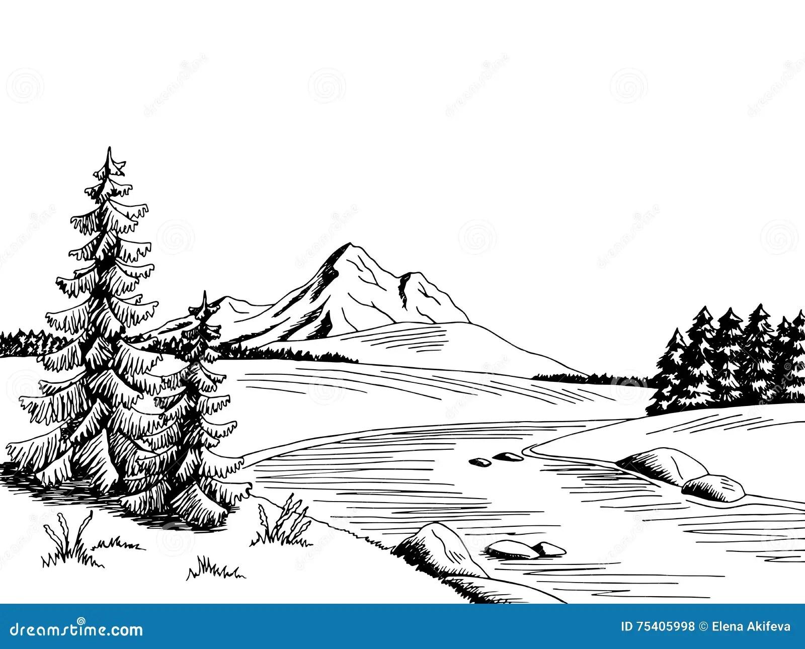 Ilustracao Branca Do Esboco Da Paisagem Do Preto Da Arte
