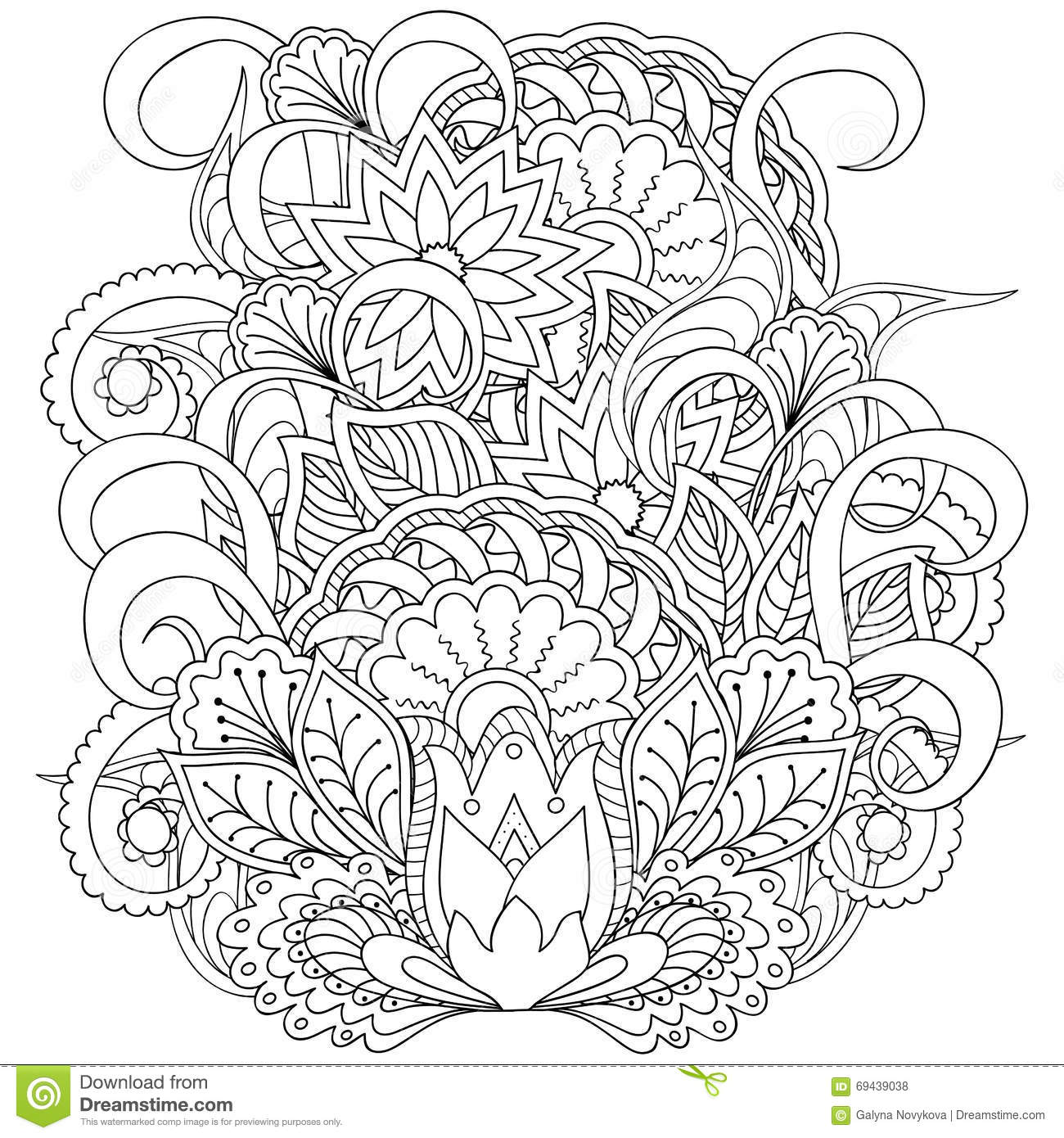 Image For Adult Coloring Page Stock Vector