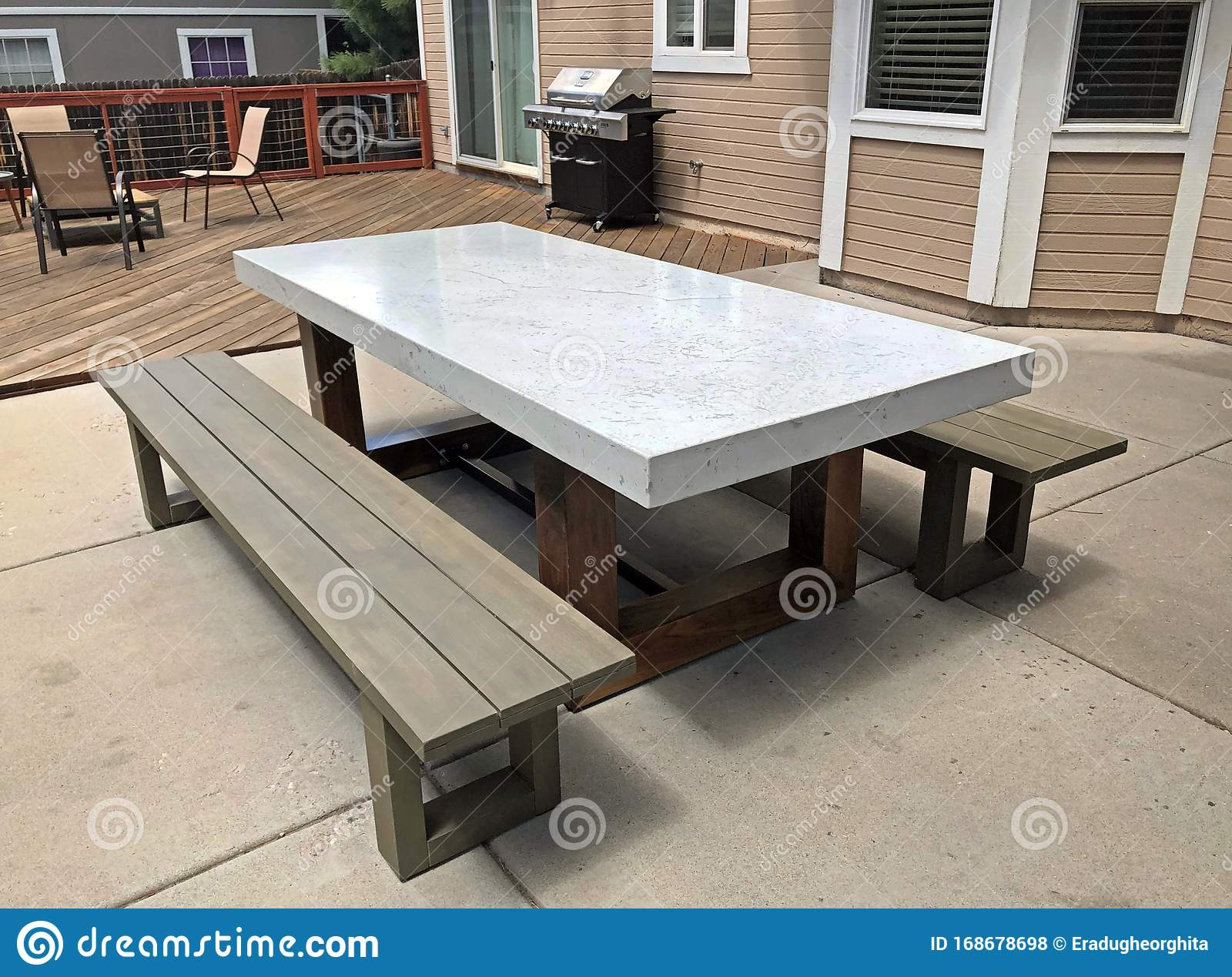 https www dreamstime com image captured using natural light my uncle s backyard patio modern table foreground design furniture marble image168678698