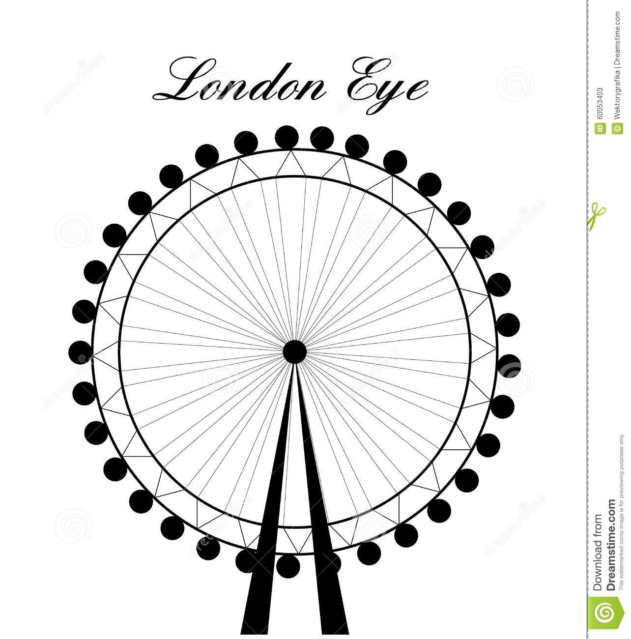 Image Of Cartoon London Eye Silhouette With Signctor