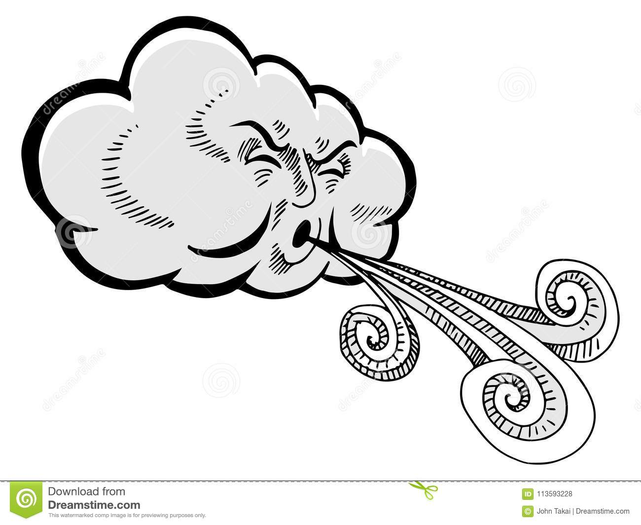 Cloud Blowing Wind Drawing Cartoon Stock Vector