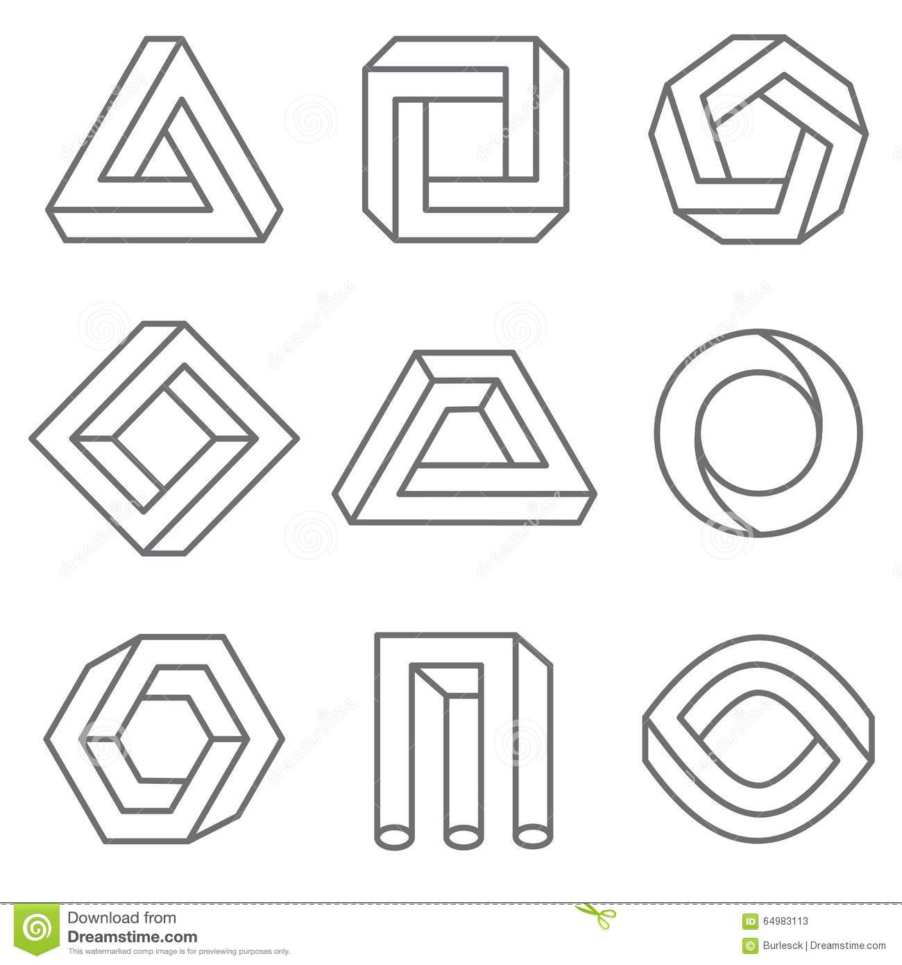 Impossible Geometric Shapes In Linear Outline Stock Vector