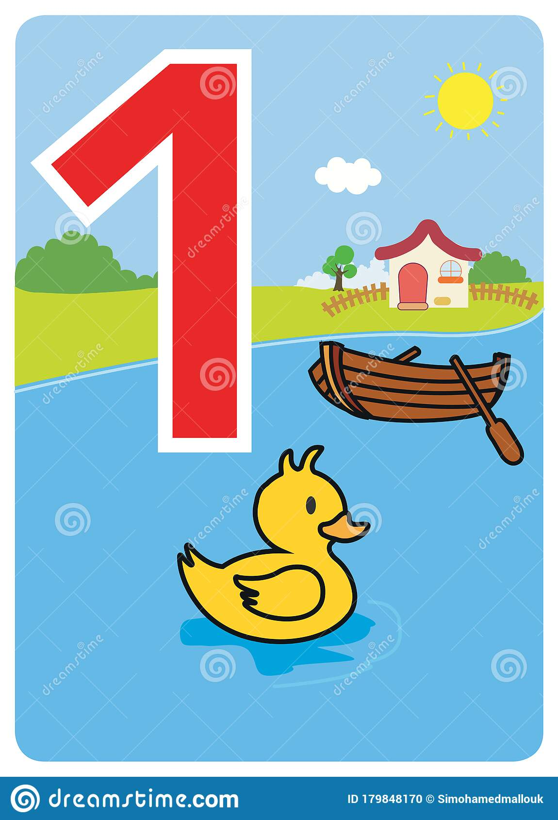 Illustrated Card Numbers For School Activities Stock