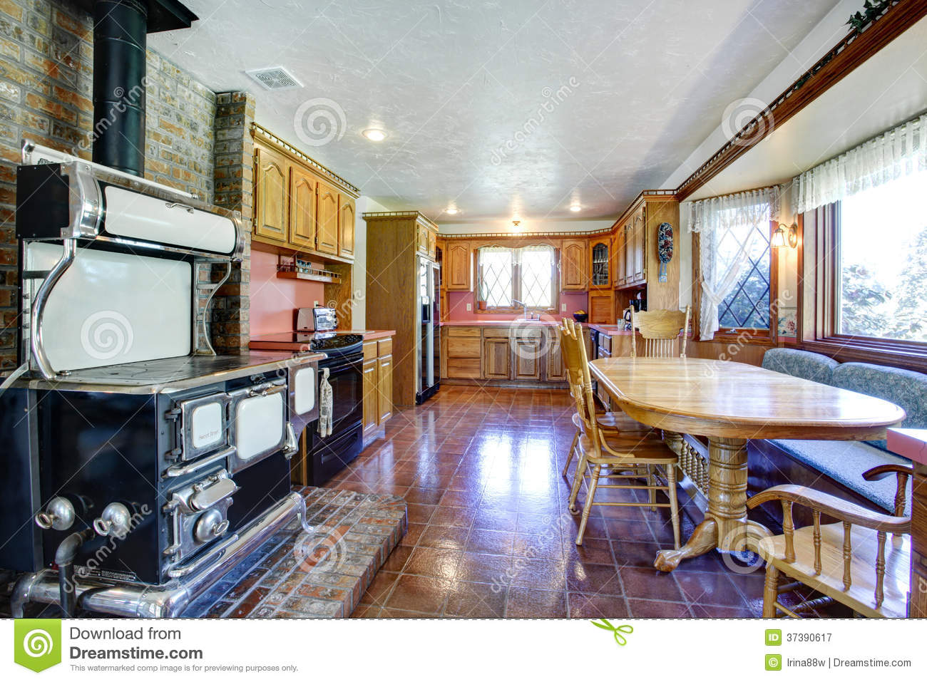 Impressive Farmhouse Kitchen Room With Antique Stove Royalty Free Stock Photography Image