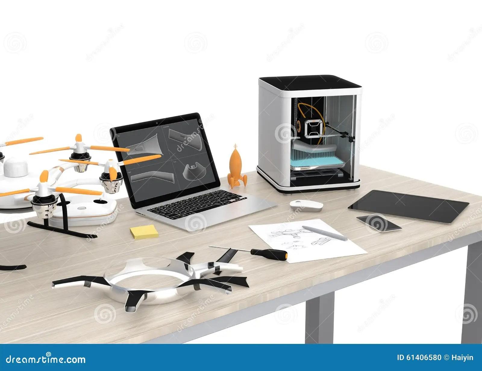 imprimante 3d ordinateur portable tablette et bourdon sur une table illustration stock illustration du portable bourdon 61406580